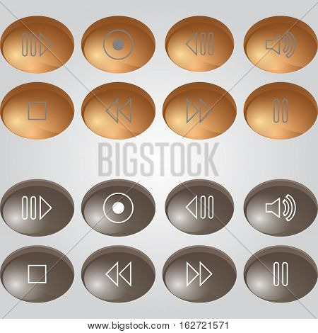 vector set of buttons for media player