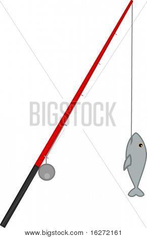 caña de pescar y pescado