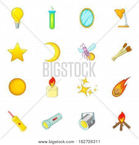 Sources of light icons set. Cartoon illustration of 16 sources of light vector icons for web