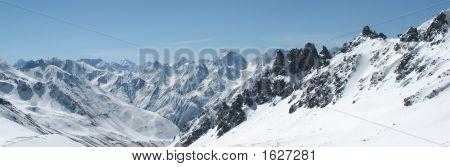 Panorama Of Winter Mountains In Caucasus