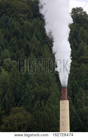 Industrial Chimney Blowing Fumes Into The Sky
