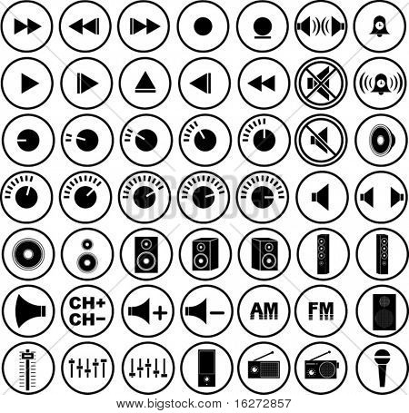 audio and sound icon collection