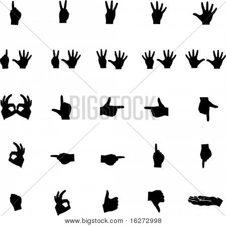 conjunto de coleta de símbolo de mãos 1