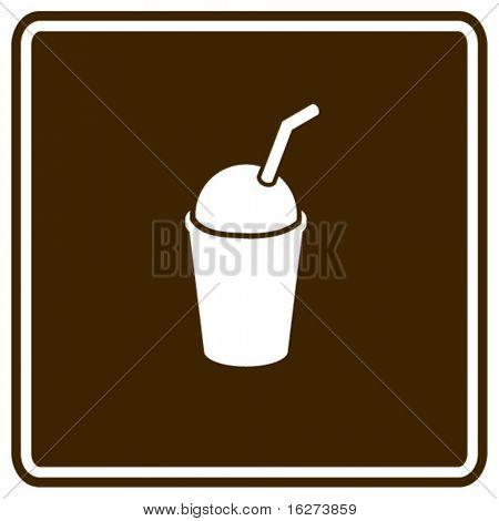 bebida de café frío del hielo con signo paja de beber