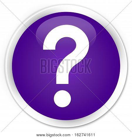 Question Mark Icon Premium Purple Round Button