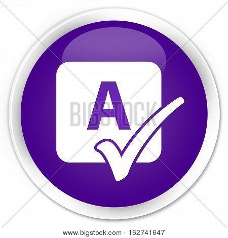 Spell Check Icon Premium Purple Round Button