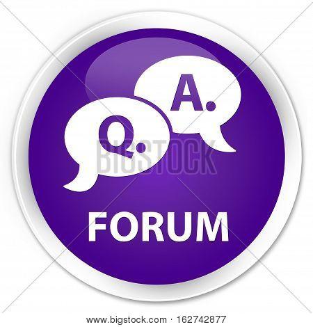 Forum (question Answer Bubble Icon) Premium Purple Round Button