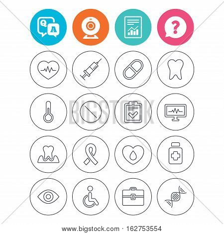 Medicine icons. Syringe, heartbeat and pills symbols. Tooth health, eye and blood donate. Awareness ribbon. Report document, question and answer icons. Web camera sign. Vector