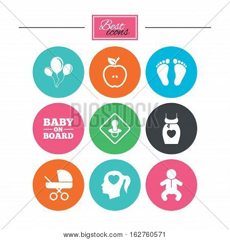 Pregnancy, maternity and baby care icons. Air balloon, baby carriage and pacifier signs. Footprint, apple and newborn symbols. Colorful flat buttons with icons. Vector