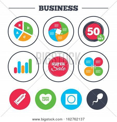 Business pie chart. Growth graph. Safe sex love icons. Condom and package symbol. Sperm sign. Fertilization or insemination. Super sale and discount buttons. Vector