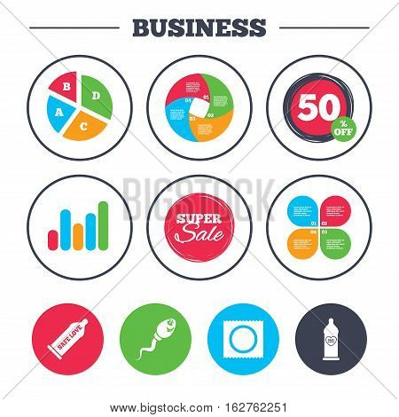Business pie chart. Growth graph. Safe sex love icons. Condom in package symbol. Sperm sign. Fertilization or insemination. Heart symbol. Super sale and discount buttons. Vector