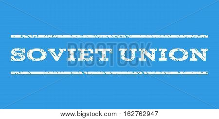 Soviet Union watermark stamp. Text caption between horizontal parallel lines with grunge design style. Rubber seal stamp with dirty texture. Vector white color ink imprint on a blue background.