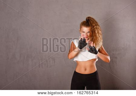 Portrait of a cute girl in sportswear. Healthy lifestyle concept. Fitness.