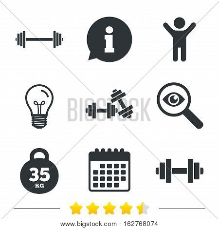 Dumbbells sign icons. Fitness sport symbols. Gym workout equipment. Information, light bulb and calendar icons. Investigate magnifier. Vector