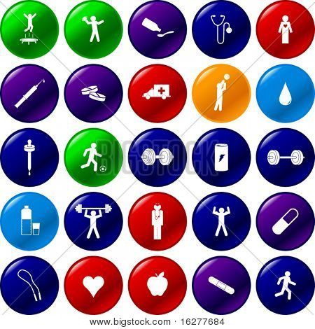 exercise sports and health care button set