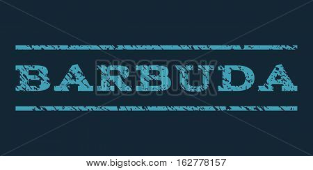 Barbuda watermark stamp. Text caption between horizontal parallel lines with grunge design style. Rubber seal stamp with dust texture. Vector blue color ink imprint on a dark blue background.