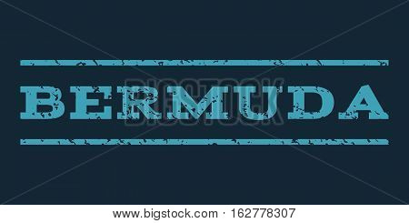 Bermuda watermark stamp. Text tag between horizontal parallel lines with grunge design style. Rubber seal stamp with dust texture. Vector blue color ink imprint on a dark blue background.