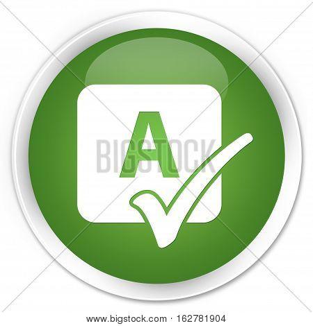 Spell Check Icon Premium Soft Green Round Button