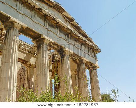 The Hephaistos Temple Near The Acropolis In Athens