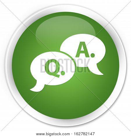 Question Answer Bubble Icon Premium Soft Green Round Button