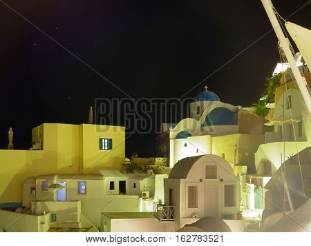 City Lights Right After The Sunset In Santorini