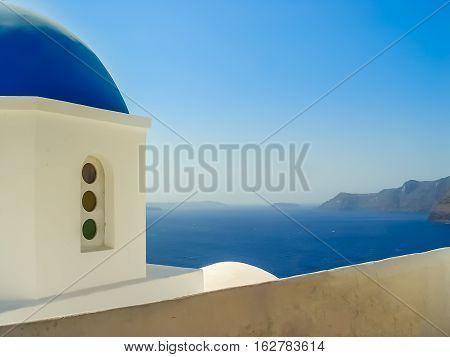 Blue Dome Of St. Nicholas Church In Oia Santorini