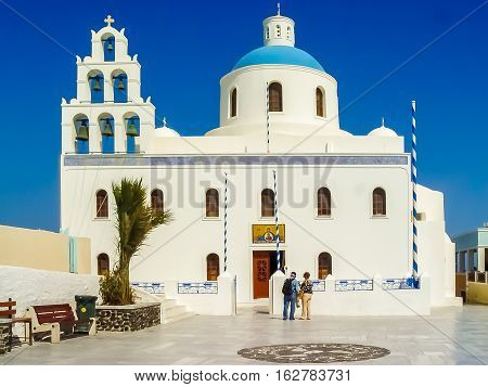 The Orthodox Church Of Panagia In Oia