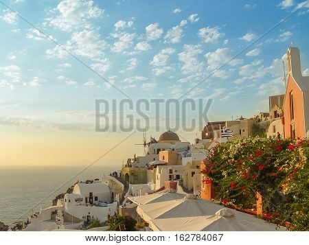 Amazing Sunset View In Oia Village At Santorini