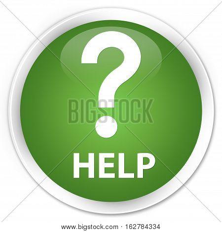 Help (question Icon) Premium Soft Green Round Button