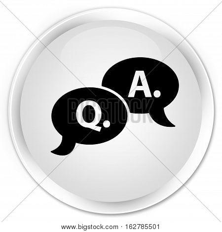 Question Answer Bubble Icon Premium White Round Button