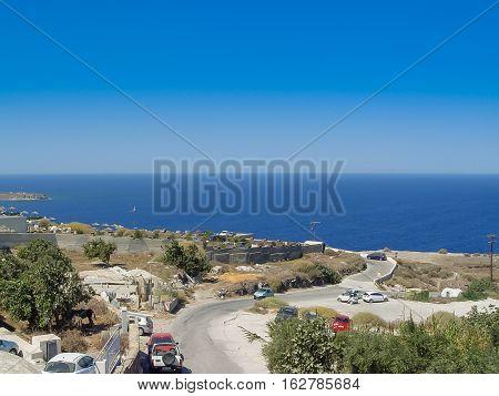 Amazing View Of A Beach  In Santorini Island