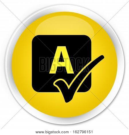 Spell Check Icon Premium Yellow Round Button
