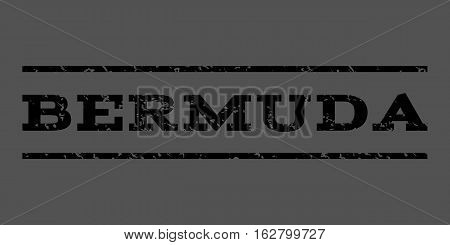 Bermuda watermark stamp. Text caption between horizontal parallel lines with grunge design style. Rubber seal stamp with unclean texture. Vector black color ink imprint on a gray background.