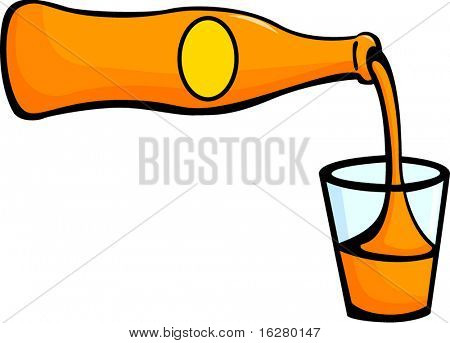pouring orange soda in a glass