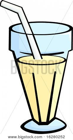 milkshake in a glass with a drinking straw