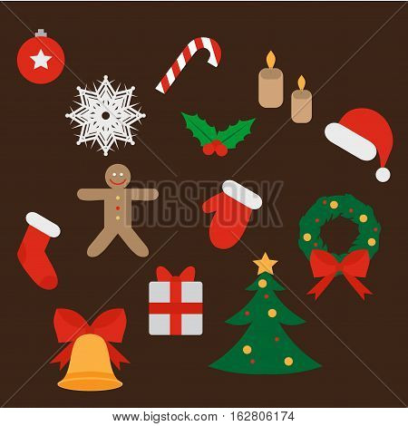 Christmas and New Year icons set. Gift holly jingle bells cookie Xmas tree ball mittens fir tree and candycane. Design elements.
