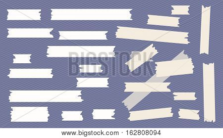 Different size sticky, adhesive, masking, scotch tape are on squared blue background.