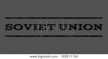Soviet Union watermark stamp. Text tag between horizontal parallel lines with grunge design style. Rubber seal stamp with dust texture. Vector black color ink imprint on a gray background.
