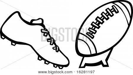 sport shoe kicking a football ball