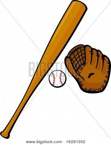 Baseballschläger, Handschuh und ball