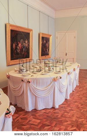 Gatchina, Russia - 3 December, Pictures of the great served table, 3 December, 2016. Visit the Museum Reserve Gatchina Palace.