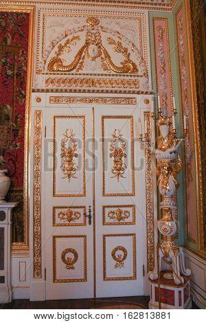Gatchina, Russia - 3 December, Golden interior of the Gatchina Palace, 3 December, 2016. Visit the Museum Reserve Gatchina Palace.