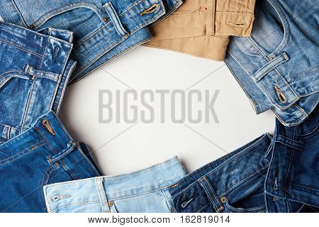 Round frame from jeans with copy white space in middle