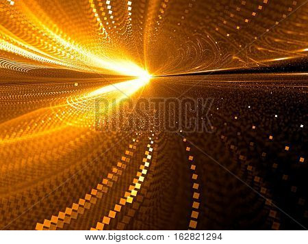Blurred way - abstract computer-generated 3D illustration. Fractal geometry: chaos curves like path to horizon. Motion blur - technology background for banners, posters, web design.
