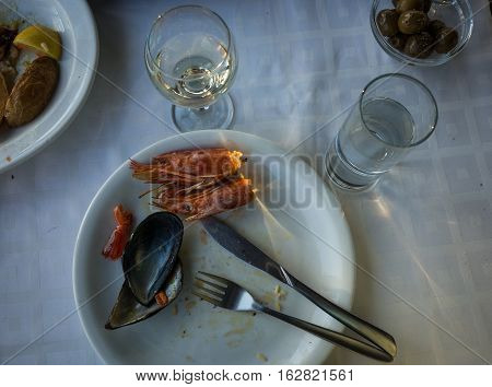 Empty Plates With Remnants Of Food After Lunch