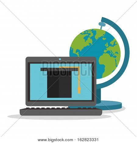 Laptop and planet sphere icon. Science laboratory chemistry and research theme. Colorful design. Vector illustration