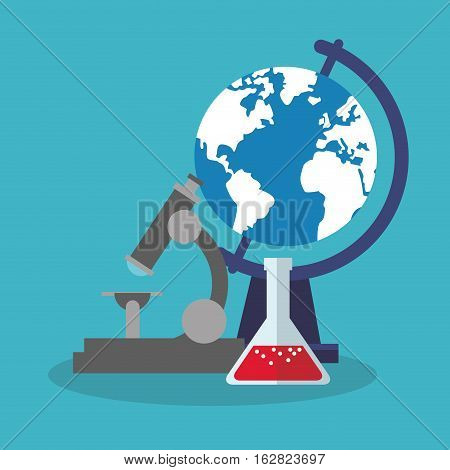 Microscope flask and planet sphere icon. Science laboratory chemistry and research theme. Colorful design. Vector illustration
