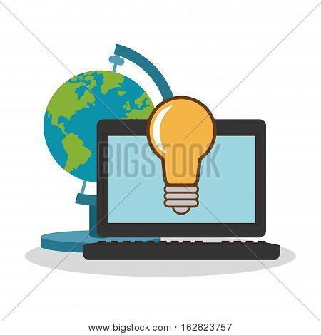 Laptop bulb and planet sphere icon. Science laboratory chemistry and research theme. Colorful design. Vector illustration
