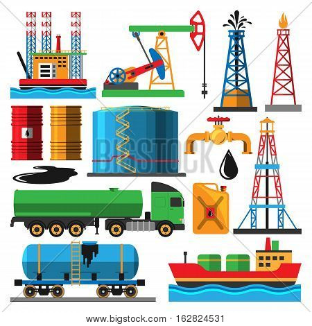 Set of oil industry production transportation extracting cartoon icons vector illustration. Energy processing platform. Petroleum industry technology design.