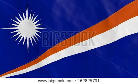 Marshall Islands Flag Waving, detailed texture. Part of a set